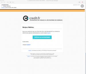 Mail de crédit de compte