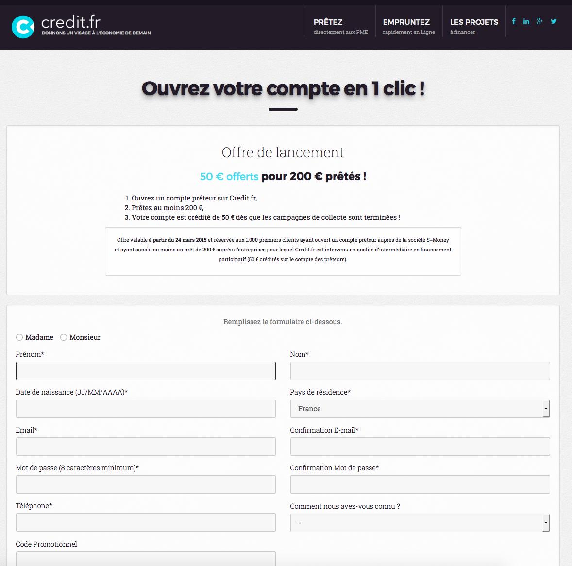 Inscription sur Credit.fr