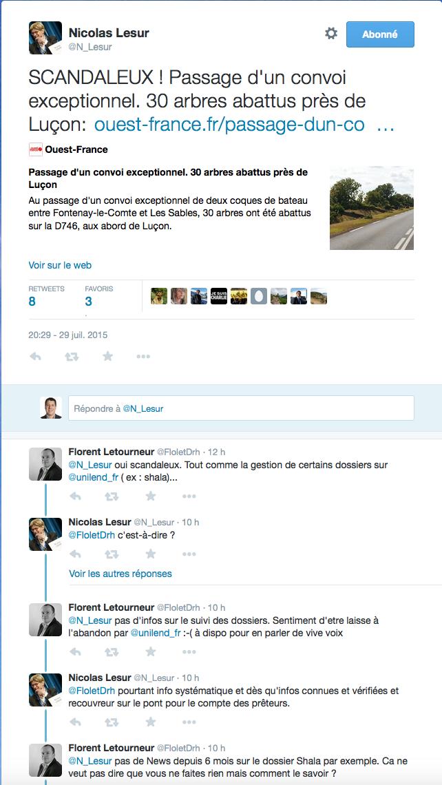 Conversation twitter entre Nicolas LESUR et Florent LETOURNEUR