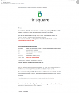 Mail validation justificatifs Finsquare