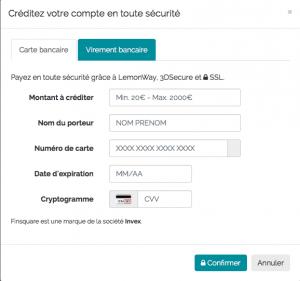 Créditer compte Finsquare par carte bancaire