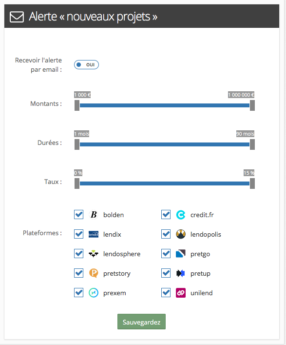 Nouveaux projets en crowdlending :Paramétrage des alertes mail