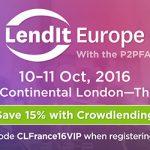 LendIt Europe : 10 et 11 octobre 2016 à Londres