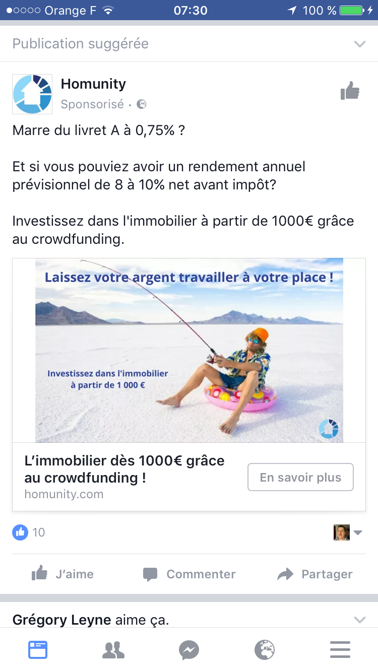 Homunity : Publicité Facebook