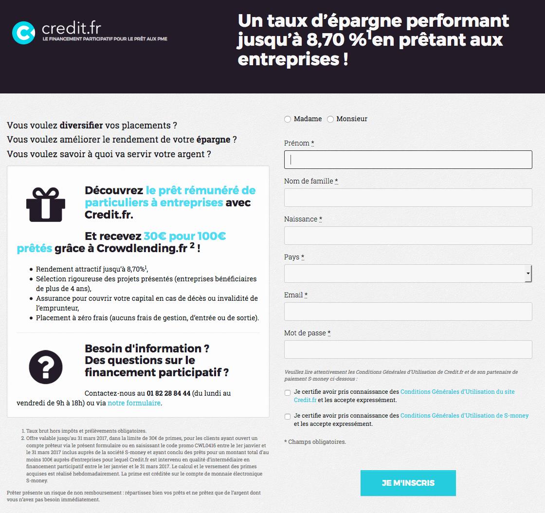 bonus / code parrain Credit.fr