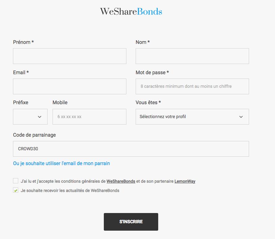 code de parrainage / bonus Wesharebonds