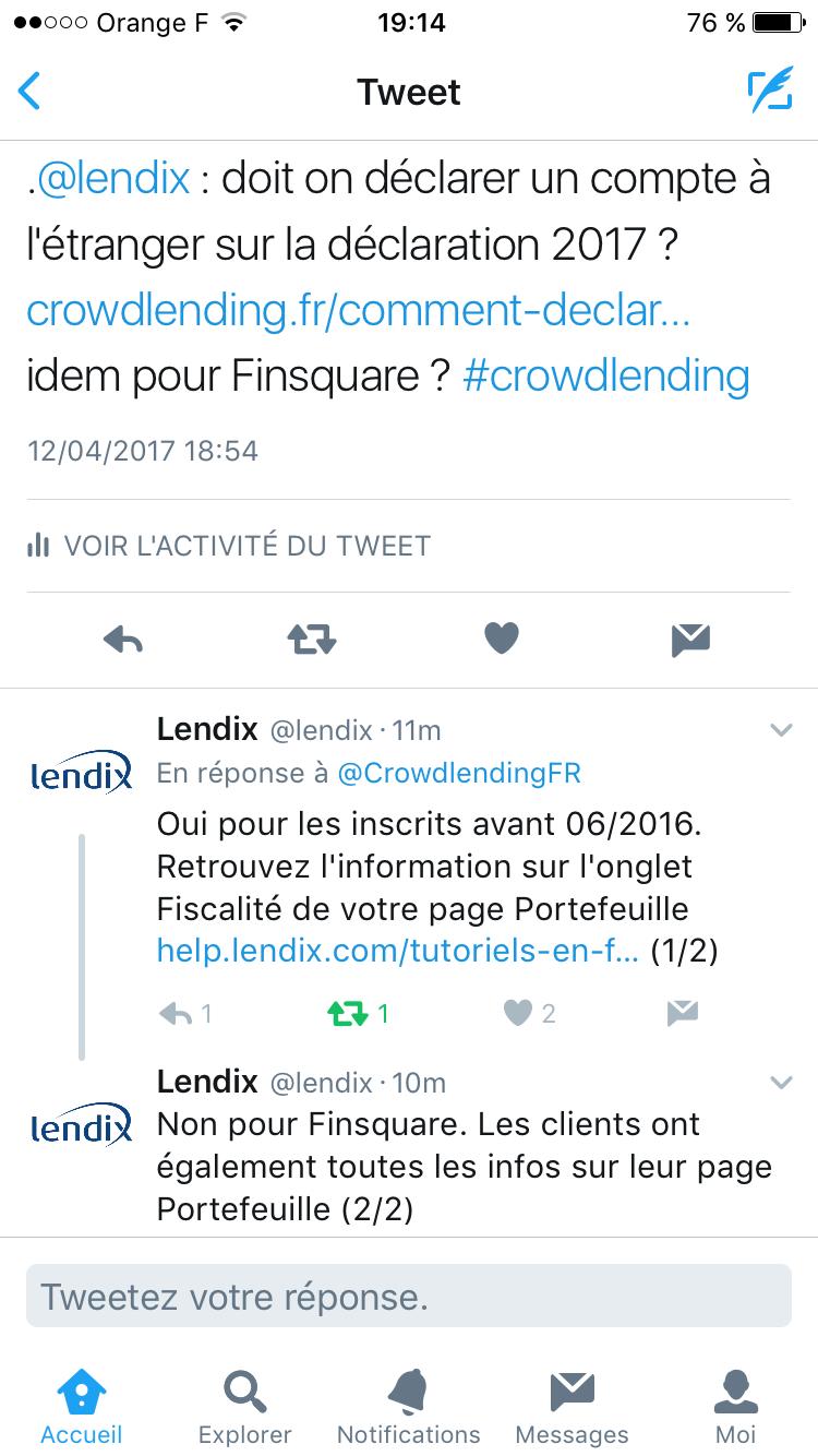 Réponse de lendix pour compte étranger du 12/04/2017