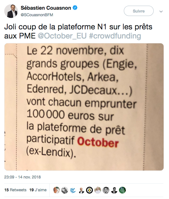 11 grands groupes empruntent sur October